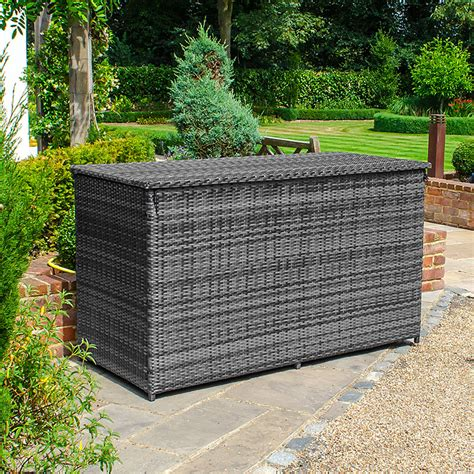 rattan garden storage box grey homebase