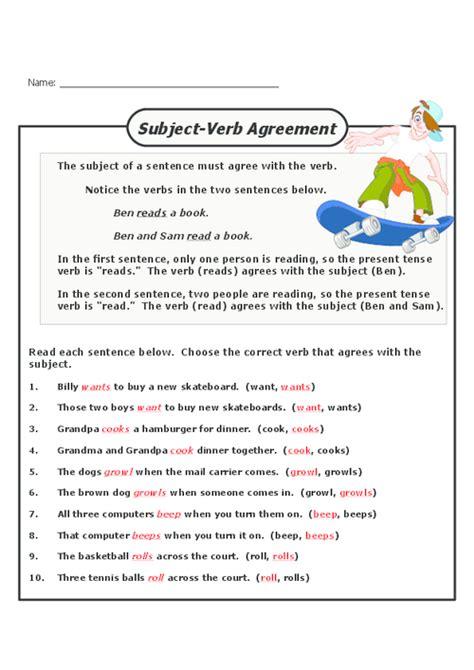 subject verb agreement grade 3 worksheet