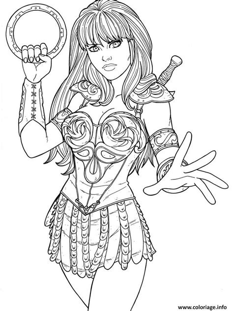 warrior girl coloring page coloriage xena super heros dessin