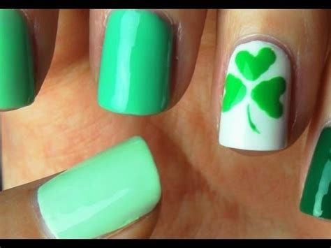 easy nail art st green nails with gold sting design saint patrick s day