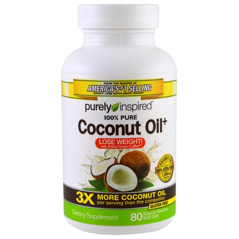 Dijamin Purely Inspired Coconut 80 Easy To Soft Gels purely inspired 椰子油 80粒易吞咽型软胶囊 iherb