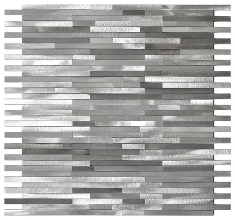 Slate Backsplash Kitchen Gray Blends Thin Lines Aluminum Mosaic Tile Contemporary