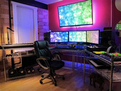 home office gaming setup dual monitors home office ideas a gamers paradise la
