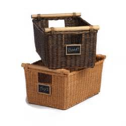 wicker pole handle storage baskets shown with mini
