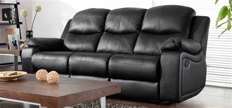 Montreal Midnight Black Reclining 3 Seater Leather Sofa 3 Seater Reclining Leather Sofa