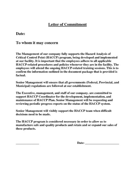 Employee Letter Of Commitment Sle letter of commitment template 28 images 6 sle of