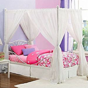 White Twin Canopy Bed Princess Bed Frame Twin Canopy Furniture White Metal Girls