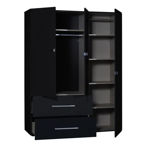 ii black gloss 3 door wardrobe with mirror