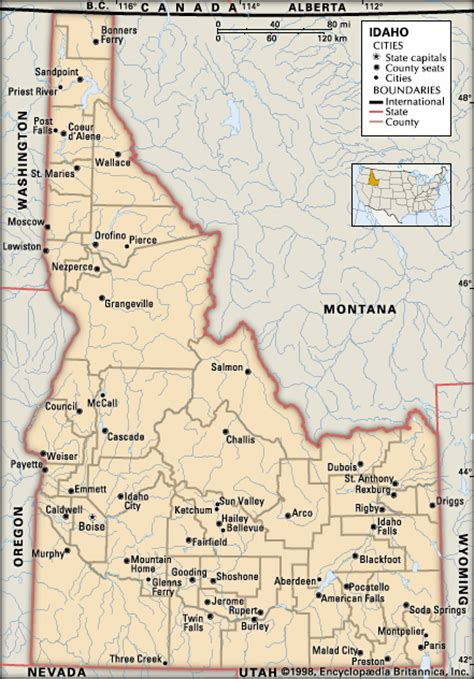 idaho map with cities idaho cities encyclopedia children s homework