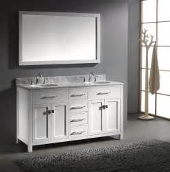 Caroline 60 inch double sink bathroom vanity in white by
