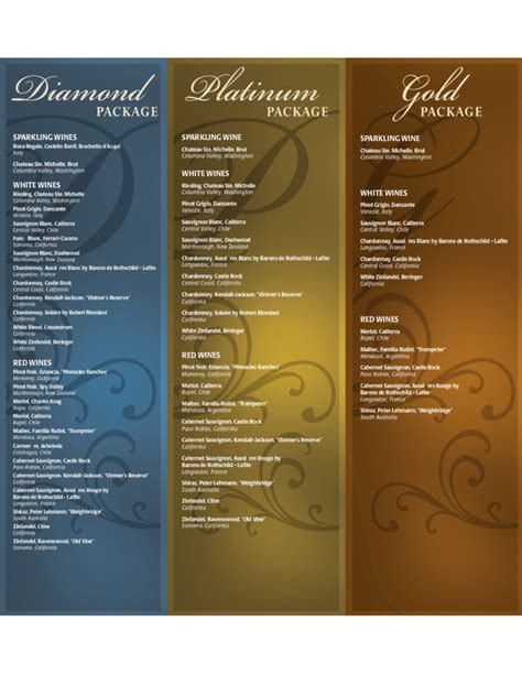 wine menu templates free download