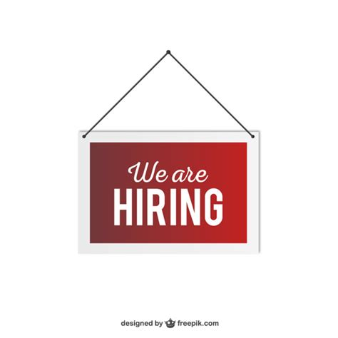 Free Is Hiring by We Are Hiring Hanging Sign Vector Free