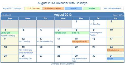 Calendar August 2013 Calendar 2013 Calendar Template 2016