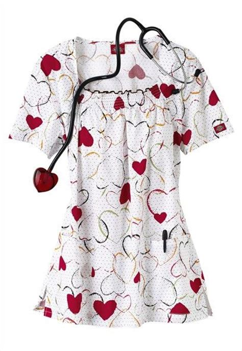 valentines day scrubs dickies is all print scrub top for