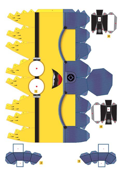 template of a minion papertoys papercraft paper arts 187 crafts