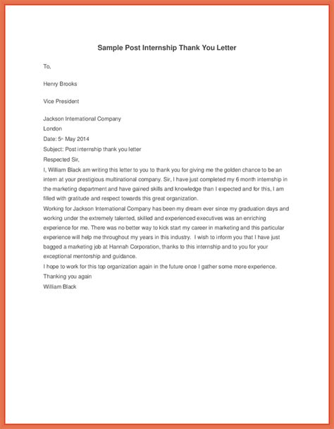 Thank You Letter To Qatar thank you letter for internship bio exle