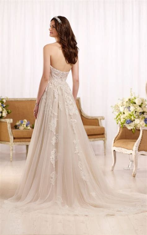 a line wedding dress with tulle skirt essense of australia