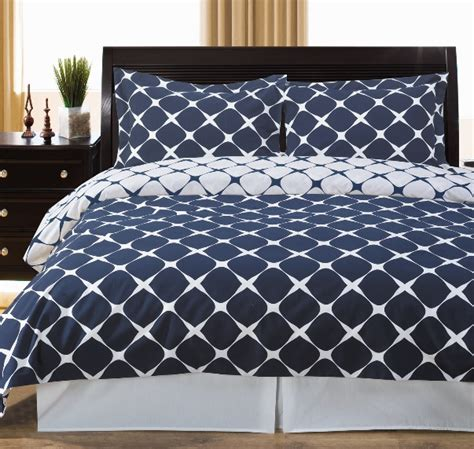 Navy Duvet Set 3pc Navy White Geometric 300tc Cotton Reversible