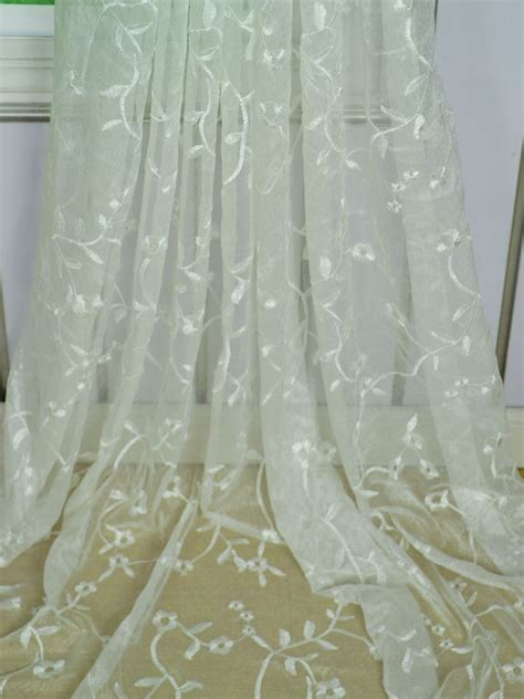 embroidered sheer curtain elbert branch floral pattern embroidered rod pocket white