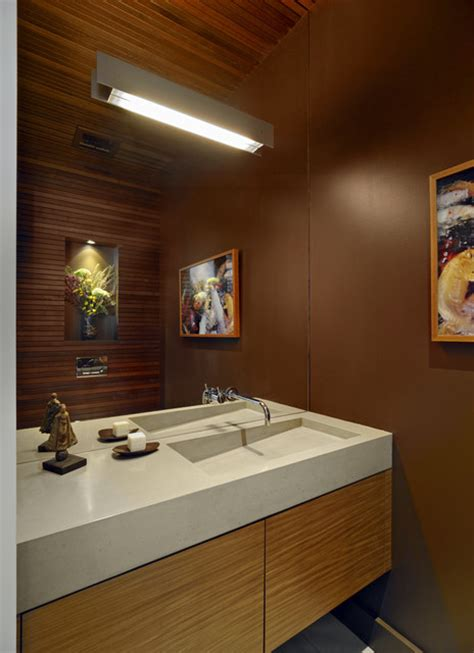 custom concrete sink modern powder room san