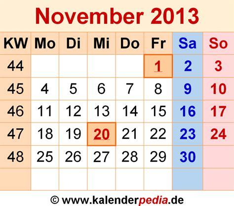 Calendar November 2013 Kalender November 2013 Als Excel Vorlagen