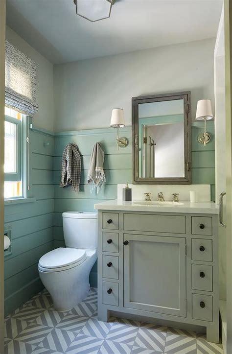 gray washstand  green shiplap trim cottage bathroom
