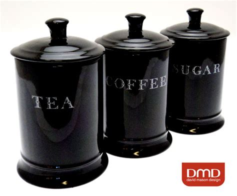 black ceramic tea coffee sugar storage canisters set ebay