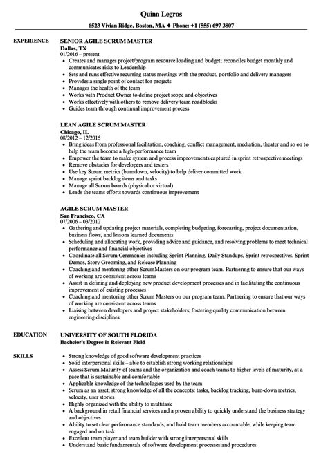 Scrum Master Resume by Agile Scrum Master Resume Sles Velvet