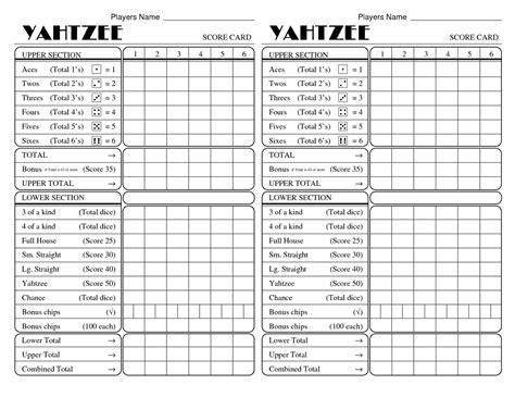 Print A Yahtzee Score Sheet | yahtzee score sheets printable activity shelter