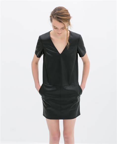 Zra Vneck Dress zara leather v neck dress dresses with pockets