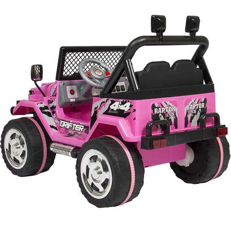 pink kids jeep jeep raptor rosa elbil