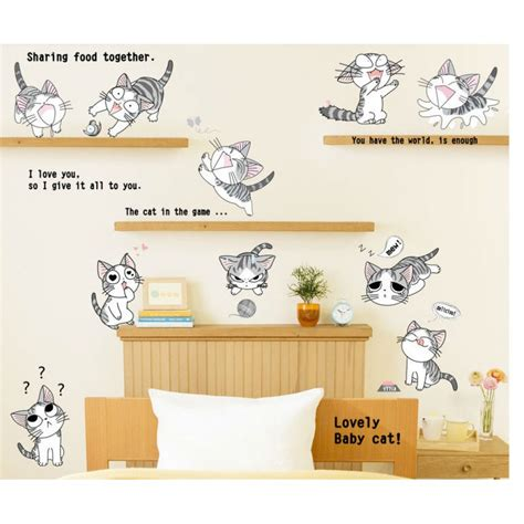 cat wall sticker anime cats wall decal wall decals vinyl wall