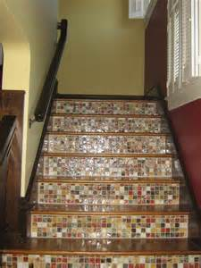 Mosaic Stairs by Tile And Wood Staircase Stairs Tile Pinterest