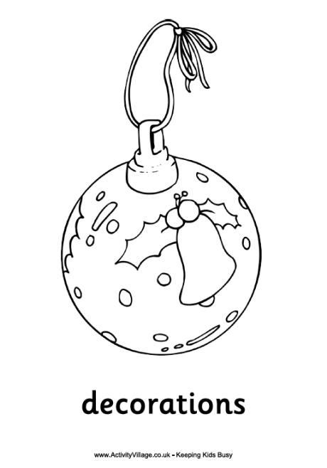printable christmas decorations to colour decorations colouring page