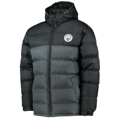 Jaket Top Waterproof Manchester City manchester city mens gents football classic padded coat jacket top black grey ebay