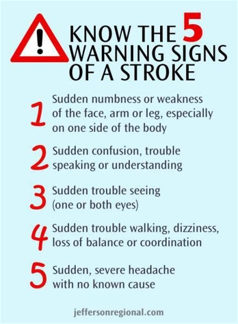 signs of a stroke in a 5 warning signs of a stroke important things