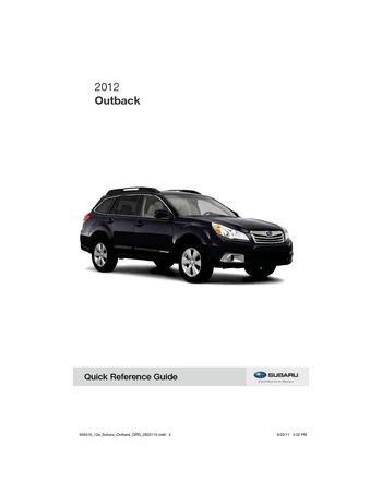 free car manuals to download 2012 subaru outback auto manual 2012 subaru outback quick reference guide pdf manual 33 pages