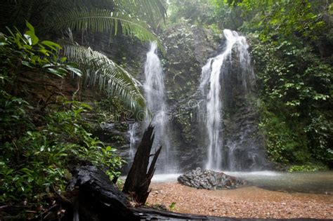 paradise waterfalls in deep tropical forest koh lanta
