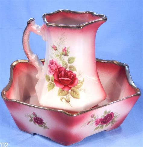 Jug Tulipware Pink Green 485 best images about pitcher basin sets on