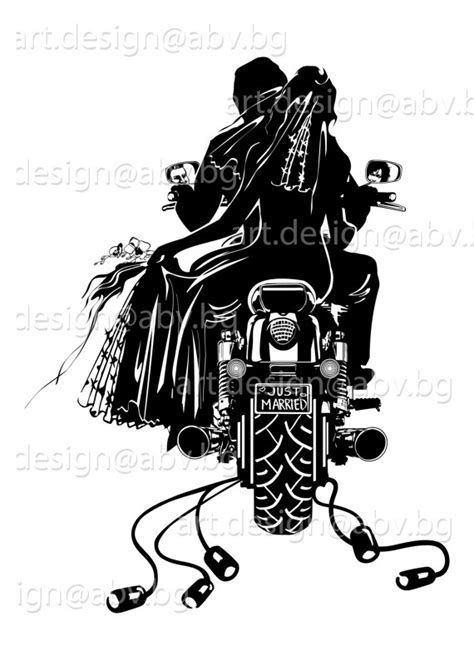 Wedding On Motorcycle Clipart by Motorcycle Clipart Just Married Pencil And In Color