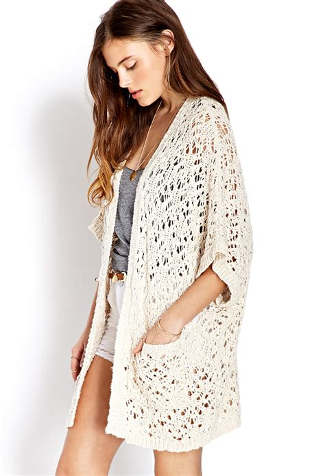 knit cardigan forever 21 forever 21 everyday open knit cardigan in lyst
