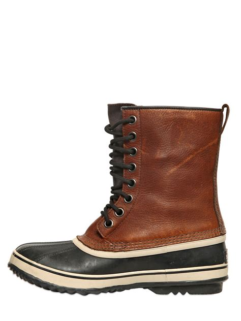 sorel quot 1964 premium t quot leather boots in brown for lyst