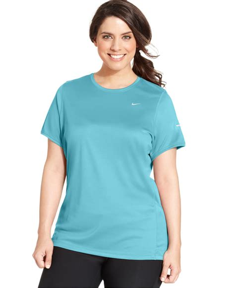 sleeve fit top nike plus size sleeve dri fit running top in blue lyst