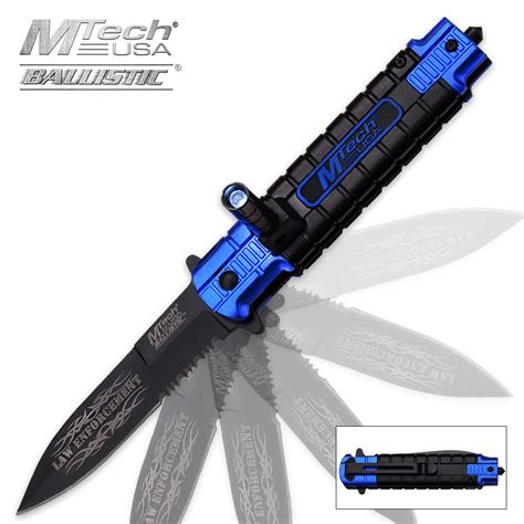 knife with light mtech ballistic enforcement assisted opening resuce