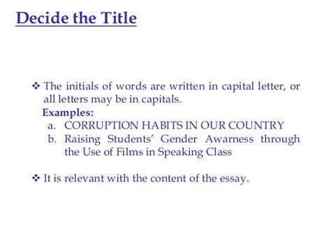 Should I Capitlize Title In Mba Application Employment History by Use Of Capital Letters In Essay Titles
