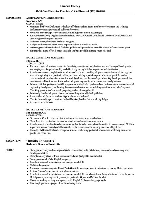 Hotel Manager Resume by Hotel Assistant Manager Resume Sles Velvet