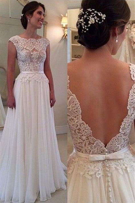 Sleeve Chiffon A Line Dress lace chiffon backless a line wedding dresses capped