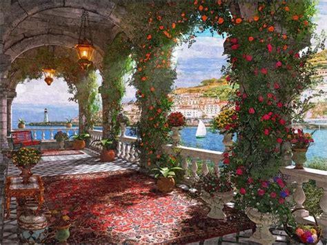 veranda mediterran dominic davison mediterranean veranda poster posterlounge