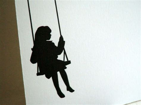 silhouette swing swing personalized stationery little girl silhouette