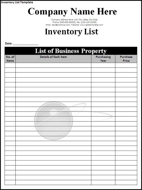 inventory list template page word excel pdf